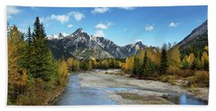 Kananaskis River In Fall Beach Sheet