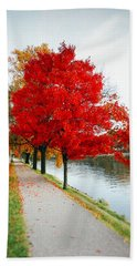Kanawha Boulevard In Autumn Beach Sheet by Shane Holsclaw
