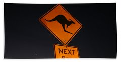 Beach Towel featuring the photograph Kangaroo Road Sign In The Northern Territory by Keiran Lusk