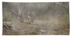Kangaroos In The Mist Beach Towel