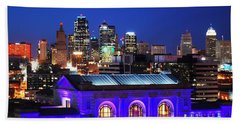 Kansas City Skyline At Night Beach Towel by Matt Harang