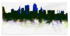 Kansas City Skyline Blue  Beach Sheet by Enki Art