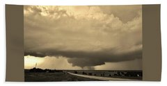 Beach Towel featuring the photograph Kansas Twister - Sepia by Ed Sweeney