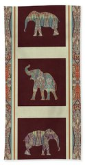 Beach Towel featuring the painting Kashmir Elephants - Vintage Style Patterned Tribal Boho Chic Art by Audrey Jeanne Roberts