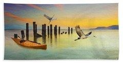 Kayak And Cranes Beach Towel