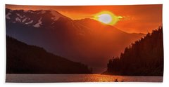 Kayak In The Sunset Glow Beach Towel