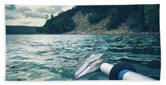 Kayaking At Devils Lake Beach Towel