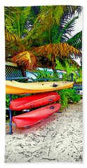 Kayaks In Paradise Beach Sheet by Joan  Minchak
