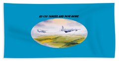 Kc-130 Tanker Aircraft And Pave Hawk With Banner Beach Towel by Bill Holkham