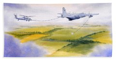 Beach Sheet featuring the painting Kc-130 Tanker Aircraft Refueling Pave Hawk by Bill Holkham