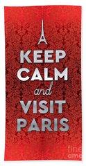 Keep Calm And Visit Paris Opera Garnier Floral Wallpaper Beach Towel
