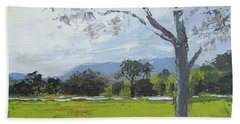 Beach Towel featuring the painting Kenilworth Landscape Queensland Australia by Chris Hobel