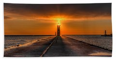 Kenosha Lighthouse Beacon Square Beach Towel