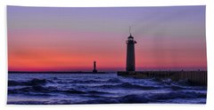 Kenosha Lighthouse Blue Waves Beach Towel