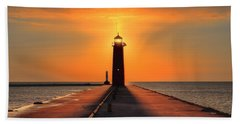 Kenosha Lighthouse Shining Light Beach Towel