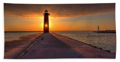 Kenosha Lighthouse Sunrise Beach Towel