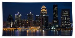 Beach Towel featuring the photograph Louisville At Night by Andrea Silies