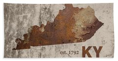 Kentucky State Map Industrial Rusted Metal On Cement Wall With Founding Date Series 002 Beach Towel
