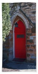 Red Church Door Beach Sheet