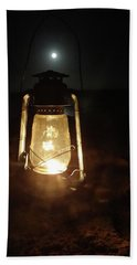 Kerosine Lantern In The Moonlight Beach Towel