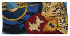 Beach Towel featuring the painting Key To The Heart by Erin Fickert-Rowland