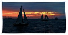 Key West Sunset - Ships Beach Sheet by Ron Grafe