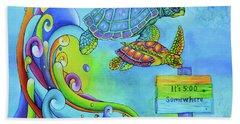 Key West Turtles Play Beach Towel