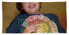 Kid With Money Beach Towel by Exploramum Exploramum
