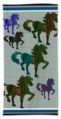 Kids Fun Gallery Horse Prancing Art Made Of Jungle Green Wild Colors Beach Towel by Navin Joshi