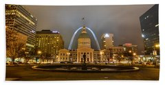 Kiener Plaza And The Gateway Arch Beach Towel