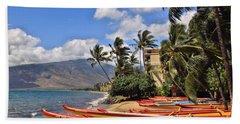 Beach Towel featuring the photograph Kihei Canoe Maui by DJ Florek