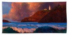 Kilauea Lighthouse - Hawaiian Cliffs Sunset Seascape And Clouds Beach Towel