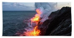 Kilauea Volcano Lava Flow Sea Entry 3- The Big Island Hawaii Beach Towel