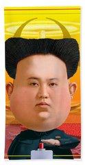 Beach Towel featuring the digital art Kim Jong Un 2016 by Scott Ross