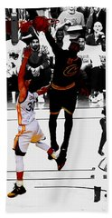 Beach Sheet featuring the mixed media King James Blocks Steph Curry by Brian Reaves
