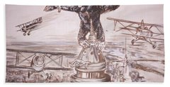 King Kong - Atop The Empire State Building Beach Towel