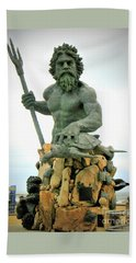 King Neptune Statue Beach Towel