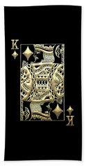 King Of Diamonds In Gold On Black  Beach Towel