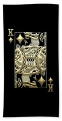 King Of Diamonds In Gold On Black  Beach Sheet