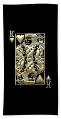 King Of Hearts In Gold On Black Beach Towel