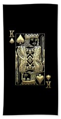 King Of Spades In Gold On Black   Beach Towel