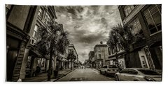 Beach Towel featuring the photograph King St. Storm Clouds Charleston Sc by Donnie Whitaker