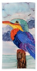 Beach Towel featuring the painting Kingfisher On Post by Suzanne Canner