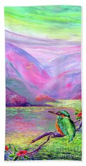 Kingfisher, Shimmering Streams Beach Towel by Jane Small