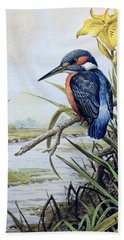 Kingfisher With Flag Iris And Windmill Beach Towel by Carl Donner