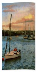 Beach Towel featuring the painting Kinsale Harbour Evening by Jeff Kolker