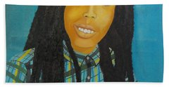 Beach Towel featuring the painting Kinshasa My First Grandchild by Nicole Jean-Louis
