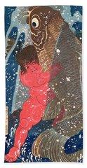 Kintoki Swims Up The Waterfall Beach Towel by Kuniyoshi