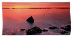 Kintyre Rocky Sunset 2 Beach Sheet by Grant Glendinning