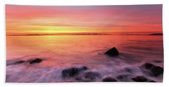 Beach Towel featuring the photograph Kintyre Rocky Sunset 3 by Grant Glendinning